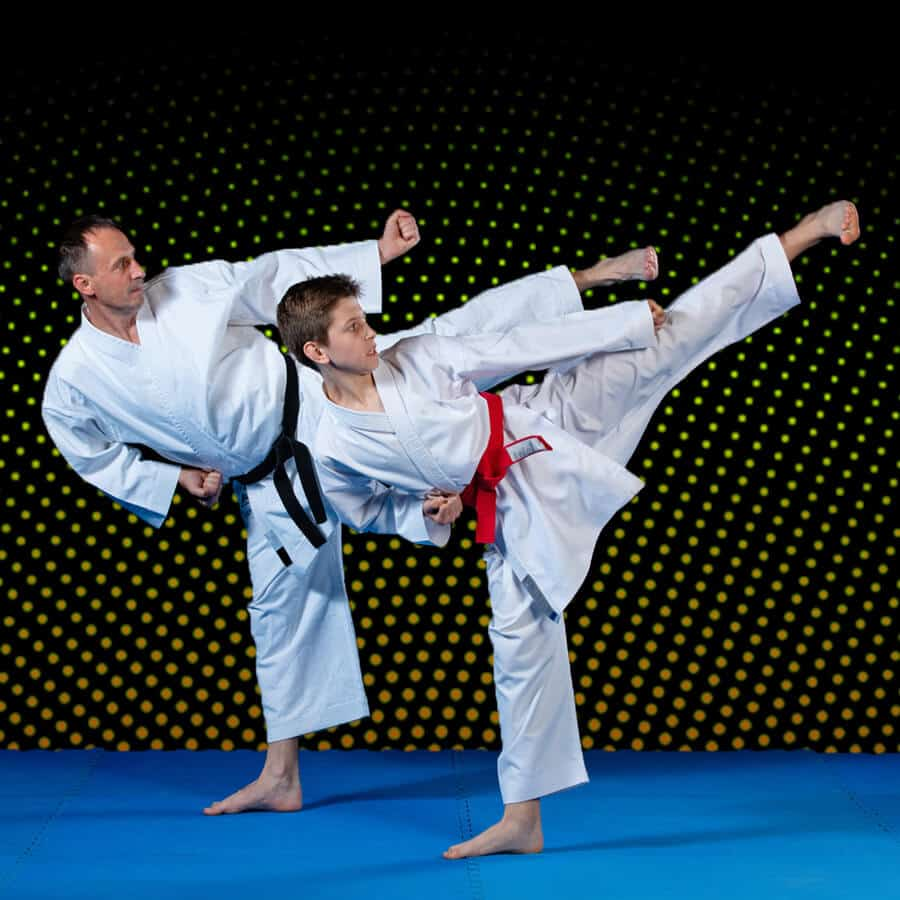 Martial Arts Lessons for Families in Carmichael CA - Dad and Son High Kick