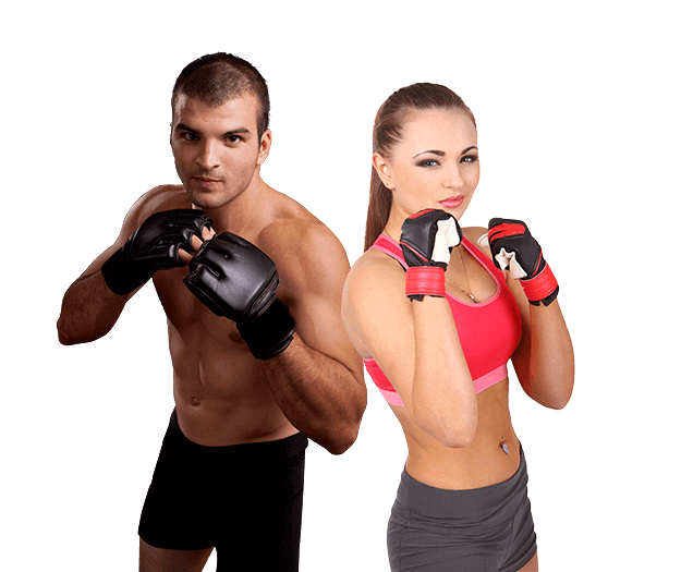 Mixed Martial Arts Lessons for Adults in Carmichael CA - Hands up Fitness MMA Man and Woman Footer Banner