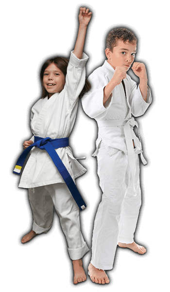 Martial Arts Lessons for Kids in Carmichael CA - Happy Blue Belt Girl and Focused Boy Banner